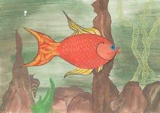 水彩金鱼和蜗牛 库存图片
