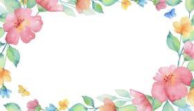 水彩长方形框架 免版税图库摄影
