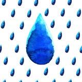 水彩雨下落 库存照片