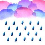 水彩雨下落 库存图片