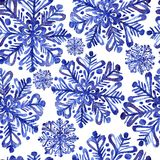 水彩雪花无缝的装饰品 皇族释放例证