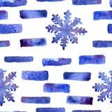 水彩雪花无缝的装饰品 库存例证