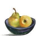 水彩静物画用梨和苹果在板材 免版税库存照片