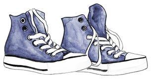 水彩靛蓝牛仔布运动鞋配对鞋子被隔绝的传染媒介 免版税图库摄影