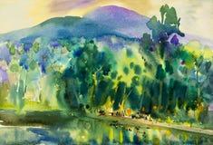 水彩风景原始的绘画五颜六色水塔,餐馆,山 免版税库存图片