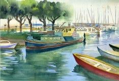 水彩风景汇集:小船 免版税库存图片