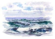 水彩风雨如磐的海 免版税图库摄影