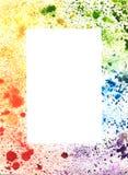水彩飞溅抽象五颜六色的手拉的框架  免版税图库摄影