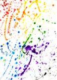 水彩飞溅抽象五颜六色的手拉的背景  免版税图库摄影