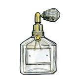 水彩香水瓶子,时尚例证 库存照片