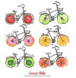 水彩骑自行车用新鲜水果,油炸圈饼轮子 五颜六色的夏天集合 免版税库存照片