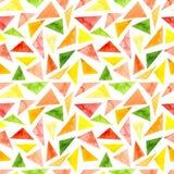 水彩鲜绿色和桃红色三角重复样式 免版税库存照片