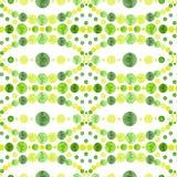 水彩鲜绿色的圈子马赛克无缝的样式 图库摄影