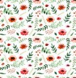 水彩鸦片、小的红色花和叶子重复样式 免版税库存图片