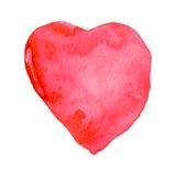 水彩绘了桃红色心脏,您的设计的元素 库存图片