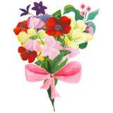 水彩绘了花和叶子的优秀组合,在白色背景 免版税图库摄影