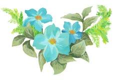 水彩绘了花和叶子的优秀组合,在白色背景 免版税库存照片