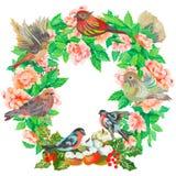 水彩绘了花和叶子的优秀组合,隔绝在白色背景 图库摄影