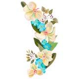 水彩绘了花和叶子的优秀组合,隔绝在白色背景 免版税图库摄影