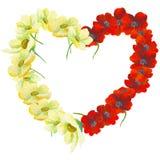 水彩绘了花的优秀心脏,隔绝在白色背景 免版税库存图片