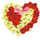 水彩绘了花的优秀心脏,隔绝在白色背景 免版税库存照片
