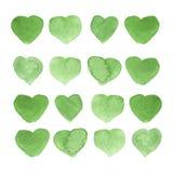 水彩绘了绿色心脏,您的设计的元素 库存图片