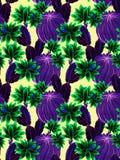 水彩仙人掌例证,无缝的样式 库存照片