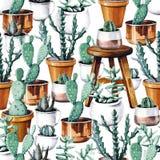水彩仙人掌沙漠热带庭院无缝的样式 水彩仙人掌样式 免版税库存照片