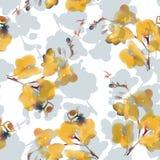 水彩仿制热带兰花花无缝的样式 也corel凹道例证向量 向量例证