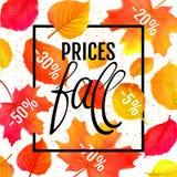 水彩仿制秋天叶子传染媒介销售横幅 价格秋天字法 不是踪影 库存例证