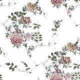 水彩绘画叶子和花,在白色backgroun的无缝的样式 免版税库存照片