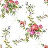 水彩绘画叶子和花,在白色backgroun的无缝的样式 库存图片