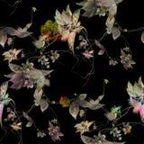 水彩绘画叶子和花,在黑暗的背景的无缝的样式 免版税库存照片