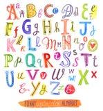 水彩绘画字母表文件,一套信件 库存图片