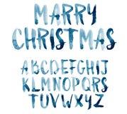 水彩水彩画字体类型手写的手 库存照片
