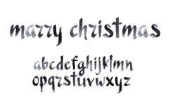 水彩水彩画字体类型手写的手 库存图片