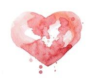 水彩水彩画手拉的五颜六色的红色心脏 库存图片