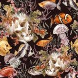 水彩破旧的海洋生活无缝的背景 向量例证