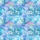 水彩绿松石深蓝抽象无缝的样式纹理背景 免版税库存照片