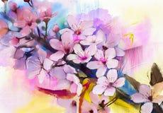 水彩绘画樱花,日本樱桃,桃红色佐仓 免版税库存照片