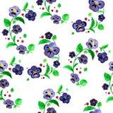 水彩紫罗兰开花无缝的光栅样式 向量例证