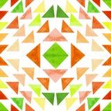 水彩绿色和橙色三角无缝的样式 免版税图库摄影
