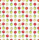 水彩绿色和红色苹果重复纹理 库存照片