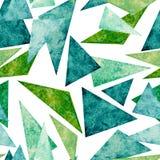 水彩绿色和蓝色三角的无缝的样式 库存照片