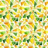 水彩黄色和绿色三角重复样式 库存照片
