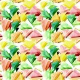 水彩绿色和黄色三角重复样式 库存照片