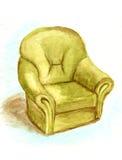 水彩绿色扶手椅子 库存图片