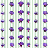 水彩紫色花纹花样,镶边背景 库存图片
