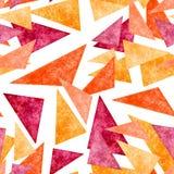 水彩黄色,橙色和桃红色三角无缝的样式 免版税库存图片