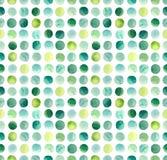 水彩绿色,蓝色和黄色圈子重复样式 免版税库存照片